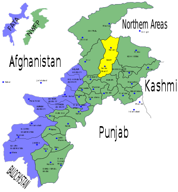 Map of the North-Western Frontier Province in Pakistan with Swat highlighted. Made by Pahari Sahib.