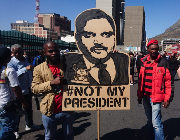 Atul Gupta protest banner Cape Town Zuma must fall