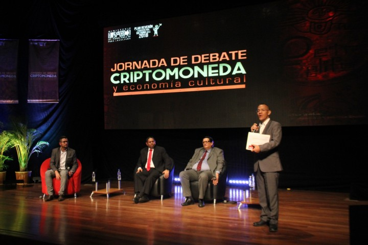 Culture Minister Ernesto Villegas speaking in a forum dedicated to cryptocurrencies Image Alexander Lourido Venezuelan Ministry for Culture