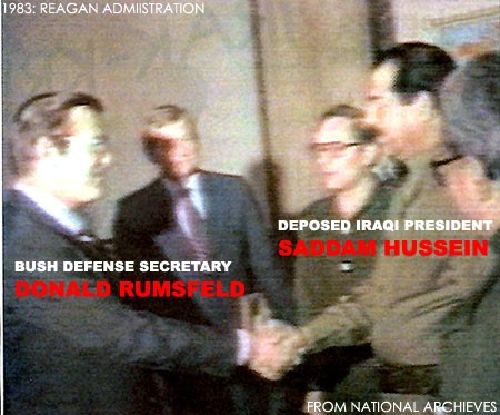 Donald Rumsfeld and Saddam Hussein