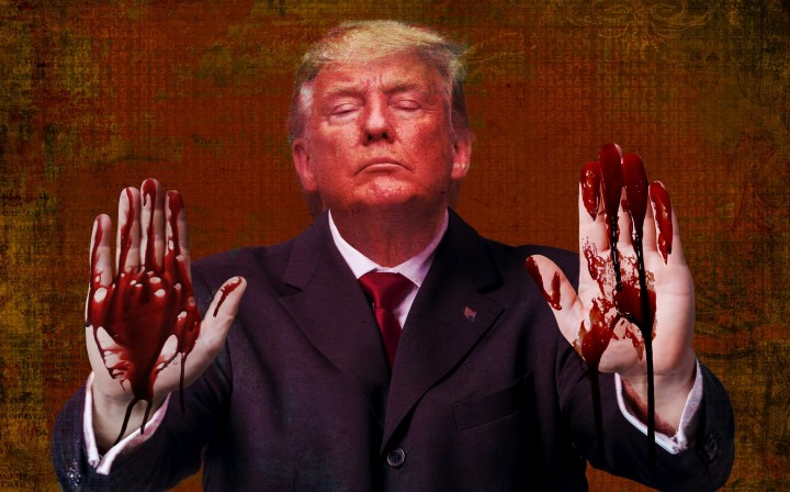 Trump bloody hands Image outtacontext Flickr