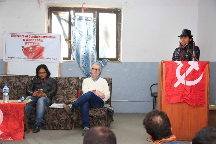 From left Comrade Yug Rob Sewell and Comrade Sangharash Image own work
