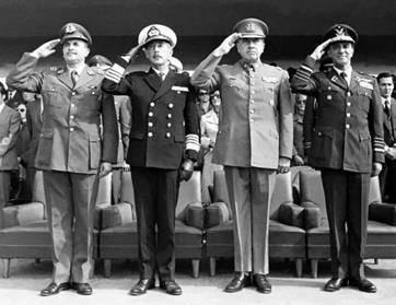 The Chilean military Junta. Photo by National Library of Chile.