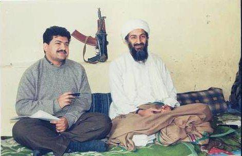 Osama Bin Laden being interviewed by Pakistani journalist Hamid Mir (photo).