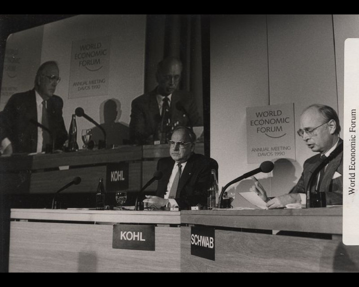West German Chancellor Helmut Kohl with World Economic Forum founder Klaus Schwab in 1990.