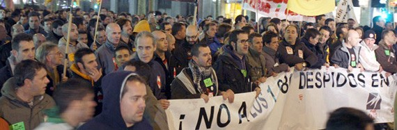 Workers of the Nissan plant in Barcelona