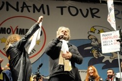 Grillo at a rally in Rome last week. Photo: aleanz77