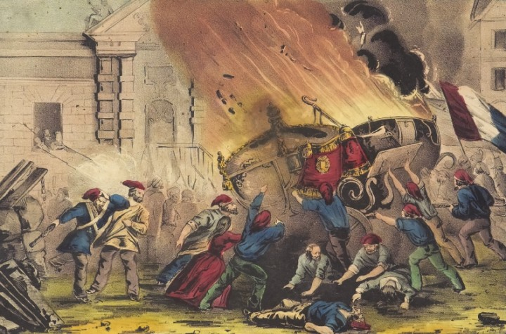 The burning of the royal carriage during the French revolution of 1848