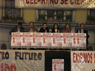 Total success of the Spanish Student Union's public meeting against Delphi closure