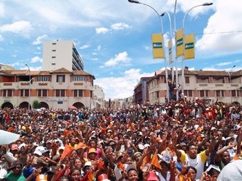Anti-government protestors in the capital of Madagascar, Antananarivo. Photo by IRIN.