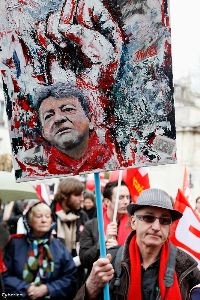 Mélenchon supporter at March 18 rally. Photo: Cyberien.