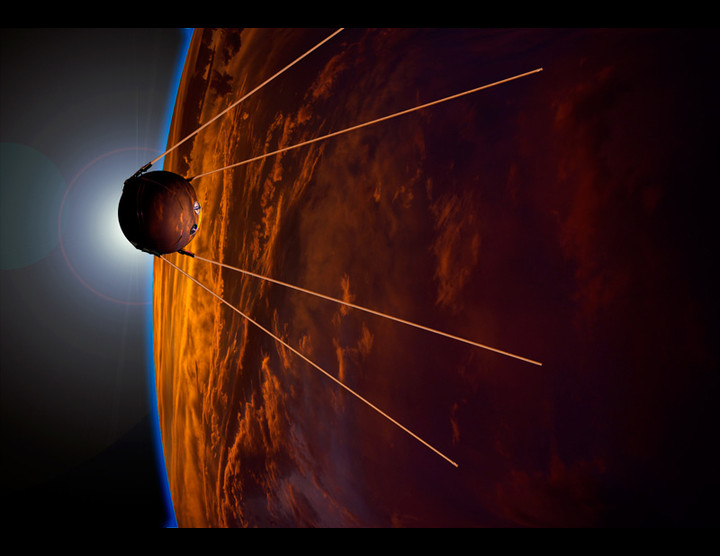 Sputnik 1 was the first Earth-orbiting artificial satellite. It was launched by the Soviet Union on 4 October 1957. Work by Gregory R Todd.