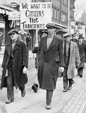 Unemployed men march in Toronto, Canada, circa 1930