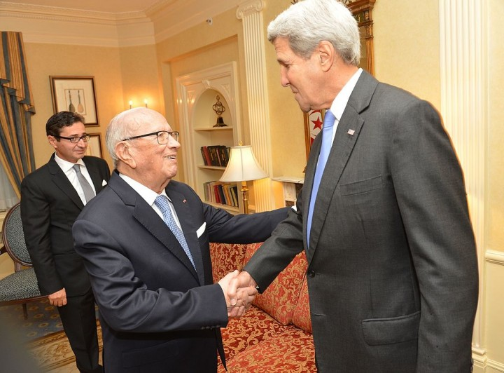 Secretary Kerry Shakes Hands With Tunisian President Essebsi Image Department of State