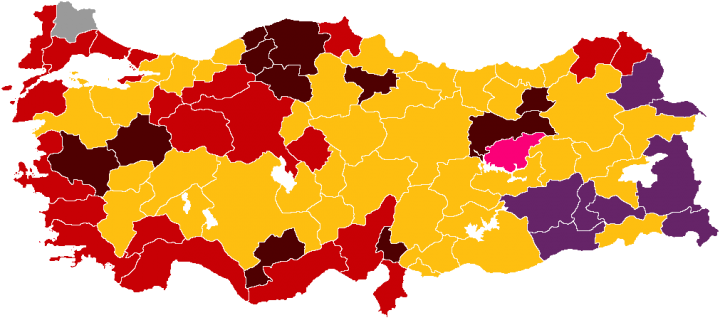 2019 Turkish local election map