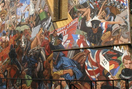 Mural of the battle in Cable Street