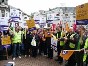 Public sector workers from the PCS union