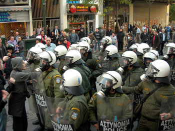 Police at a demonstration in Athens on December 18, 2008 (Photo by solidnet_photos on flickr)