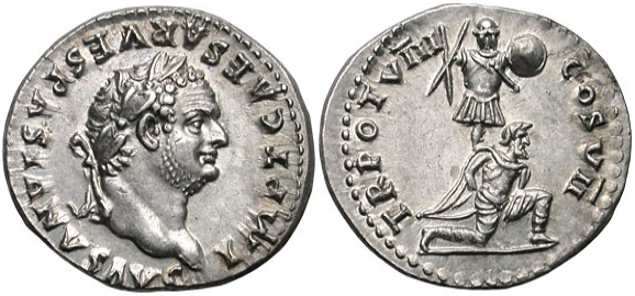 Roman denarius depicting Titus, c. 79. The reverse commemorates his triumph in the Judaean wars, representing a Jewish captive kneeling in front of a trophy of arms - photo: Classical Numismatic Group, Inc.