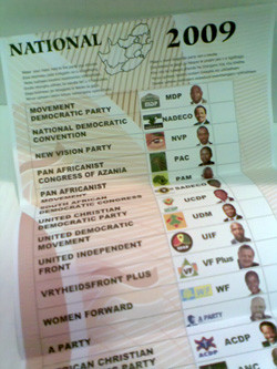Part of the national ballot paper for 2009 elections. Photo by warrenski on flickr.