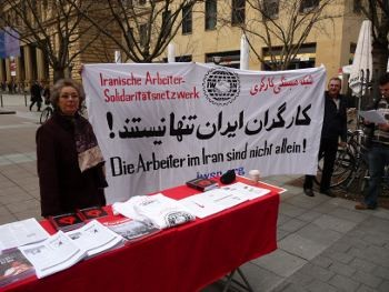 Picket in Frankfurt in solidarity with Iranian workers.