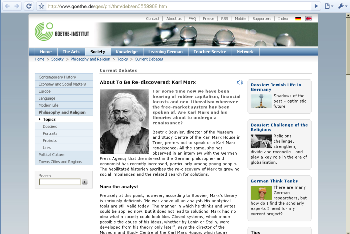 Marx on the Goethe Institute web page