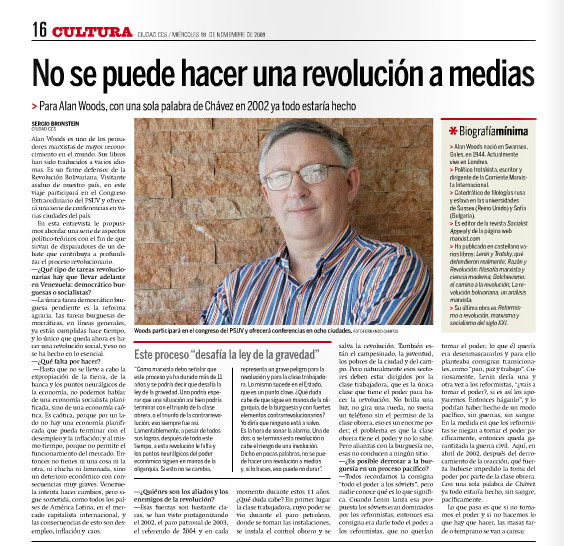 "Ciudad CCS, free Caracas daily newspaper, interview with Alan Woods ‑ ""You cannot make half a revolution"""