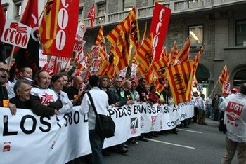 Ten thousand workers attended a demonstration against layoffs at Nissan in Barcelona last October