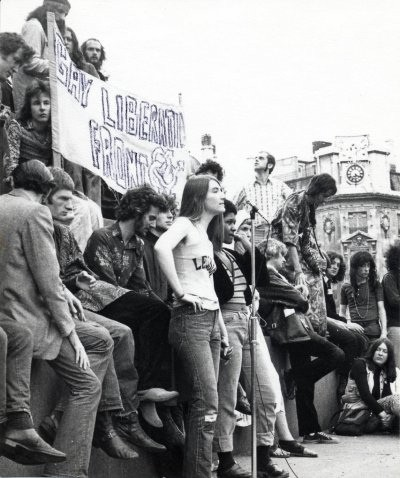 Demonstration with Gay Liberation Front Banner Image LSE Library