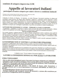 Leaflet in Italian by trade union activists, circulated in Lincolnshire.