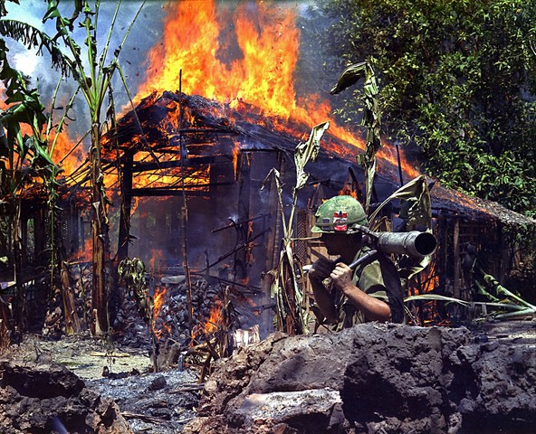 burning viet cong base camp large