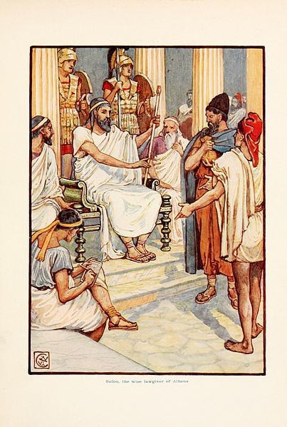 Solon the wise lawgiver of Athens Image Walter Crane