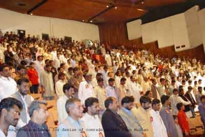 One minute silence for demise of comrade Saleem from Multan