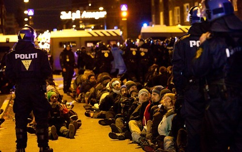 Heavy police presence at the protests during the Climate Summit in Copenhagen.
