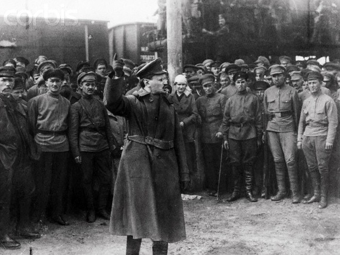 Trotsky addressing Red Guards during the Civil War Image fair use