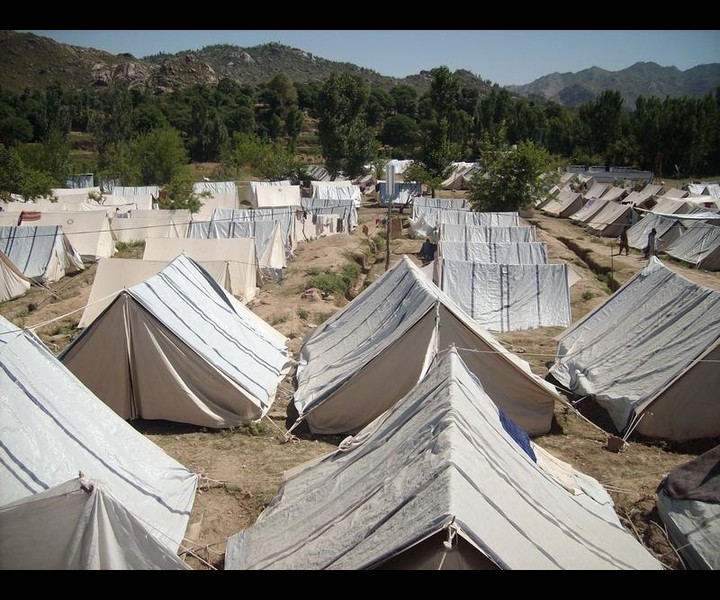 Refugee camp run by the Revolutionary Defence and Relief Committees.