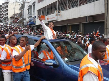 Opposition leader, Andre Rajoelina, during an anti-government protest in Antananarivo. Photo by IRIN.