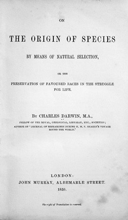 The title page of the 1859 edition of On the Origin of Species