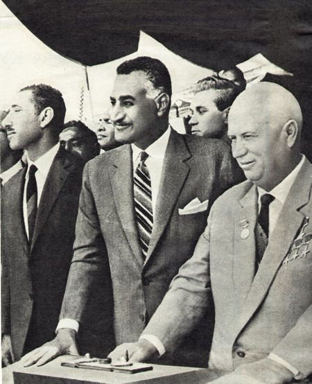 Nasser and Khrustev during the construction of Aswan Dam