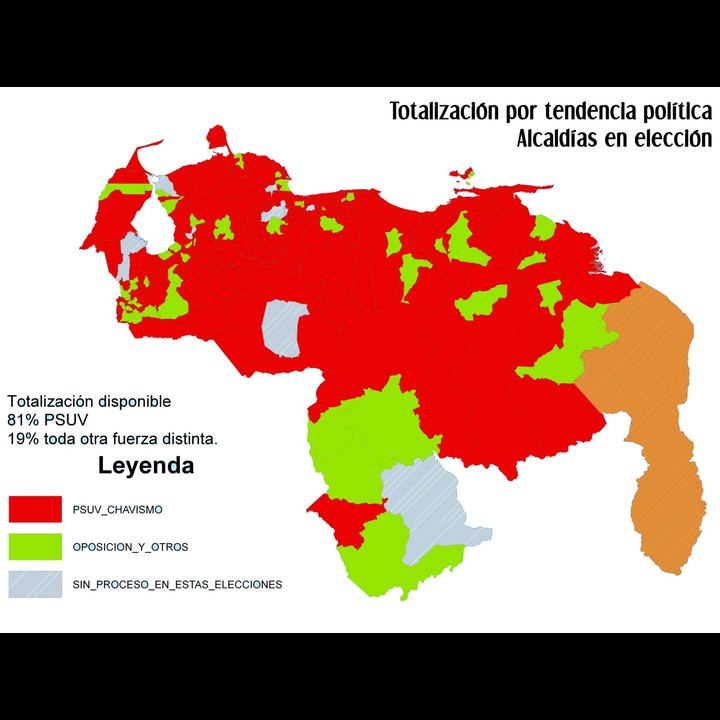 Map of councils: Red - PSUV win; Green - Oppositon win