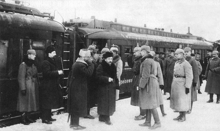 Lev Kamenev arrives at Brest Litovsk Image public domain