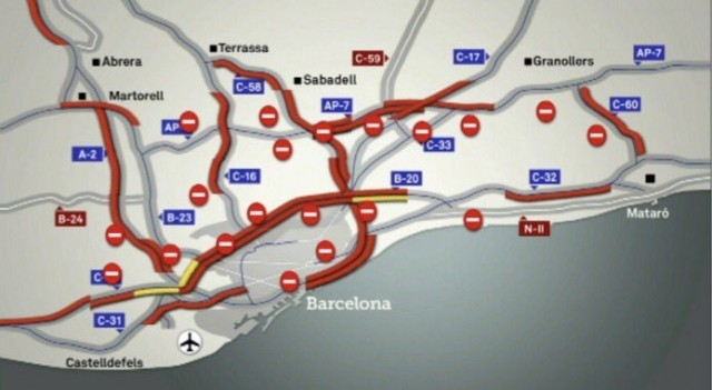 blocked roads in catalonia