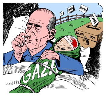 Israeli politicians (Olmert above) have a tradition of using attacks on Gaza to get votes. Drawing by Latuff.