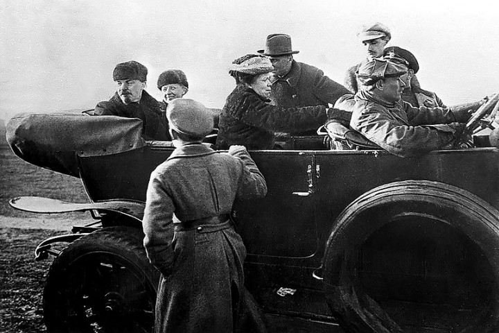 Lenin Krupskaya and Ulyanova in car at Red Army parade Image public domain