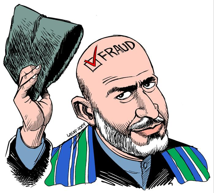 Hamid Karzai. Drawing by Latuff.