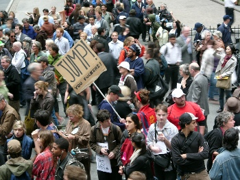 Anger towards the bankers in New York. Photo by how are things on the west coast on Flickr
