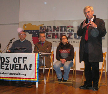Left-wing Labour MP John McDonnell speaking at a Hands Off Venezuela meeting.