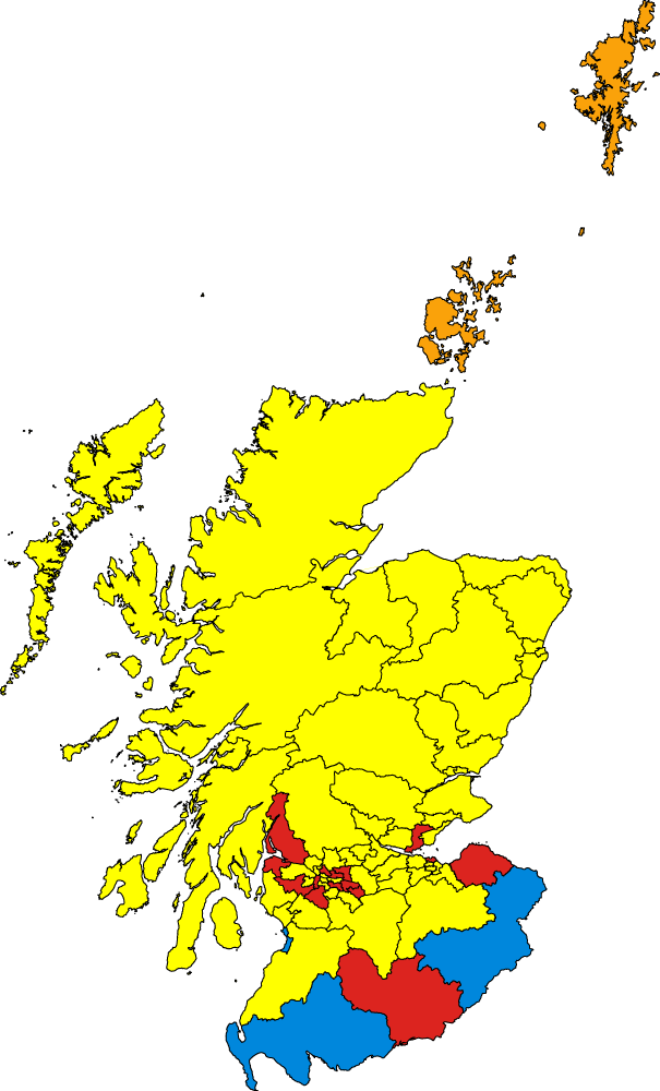 Results of elections on 5 May. SNP in yellow, Labour in red, Conservatives in blue and LibDem in orange.