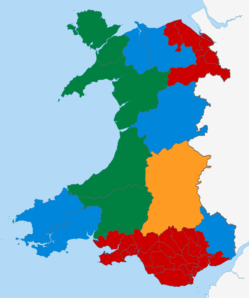 Welsh Assembly results. Green represents Welsh nationalist Plaid Cymru held seats. Illustration: Nifanion