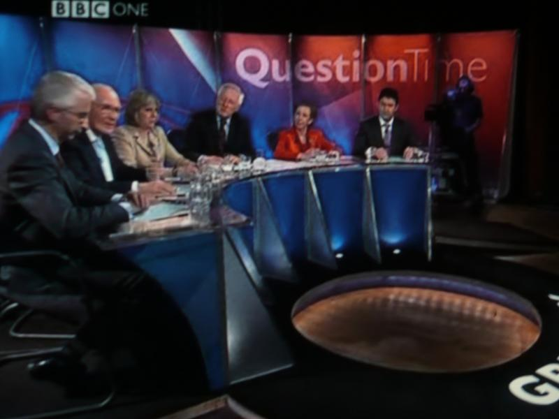 On last Thursday's BBC programme Question Time, the angry mood burst out against the MPs on the panel. Photo by dweller 88